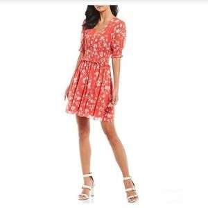 Callie Floral Print Red Smocked Dress